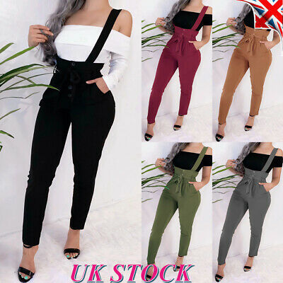 Womens High Waist Bib Dungaree Overall Ladies Strappy Casual Jumpsuit Pants UK