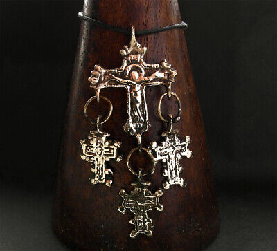 RARE POST MEDIEVAL BRONZE CROSS PENDANT - wearable