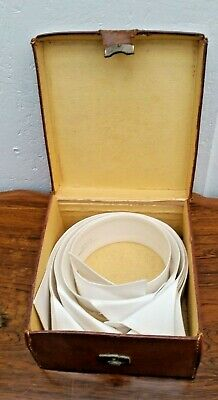 6 Victorian/Edwardian Wing Collars Size 14 1/2 & 15 in Leather Box