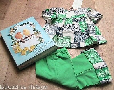 FRENCH 1960s BABY GIRL BOHEMIAN OUTFIT-BLOUSE & BELL BOTTOM PANTS -NEW&BOX-18mos
