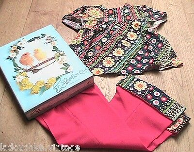 FRENCH 1960s HIPPIE GIRL OUTFIT-LIBERTY FLORAL TOP & BELL BOTTOM PANTS-NEW-2 yrs