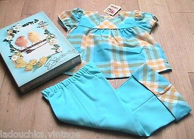 FRENCH 1960s BABY GIRL BLUE PLAID OUTFIT-TOP & BELL BOTTOM PANTS -NEW&BOX-18 mos