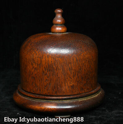 "5"" Rare Old Chinese Huanghuali wood Hand carved ring finger Storage Jewelry Box"