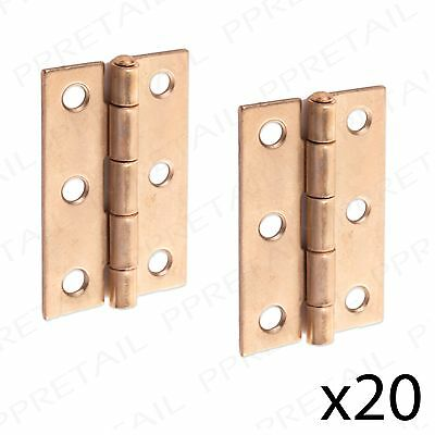 """2"""" Small Brass Butt Hinge 20 PAIRS Cabinet/Cupboard Door Fixing Toy Box/Chest"""