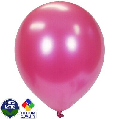 """100 x PEARLISED BALLOONS Bright Pink 12"""" Latex Helium Air Fill Event Decoration"""