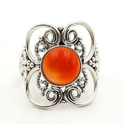 Wonderful Art Carnelian 925 Solid Sterling Silver Ring Jewelry Sz 7, C22-2