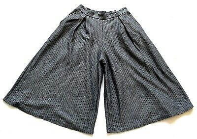 Women's Ladies Vintage Grey Pinstriped Culotte Shorts Retro 10