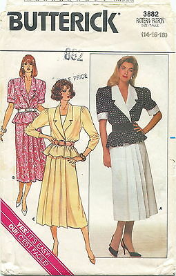 Butterick 3882 Misses Vintage Top & Skirt Sewing Pattern ~ Size 14 16 18 ~ Uncut
