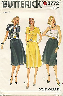 Butterick 3772 Misses Vintage Jacket Dress Belt Sewing Pattern ~ Size 12 ~ Uncut