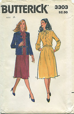 Butterick 3303 Misses Vintage Jacket & Dress Sewing Pattern ~ 8 10 12 ~ Uncut