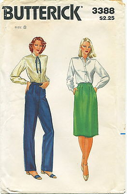 Butterick 3388  Misses Vintage Pants & Skirt Sewing Pattern Size 8 Uncut