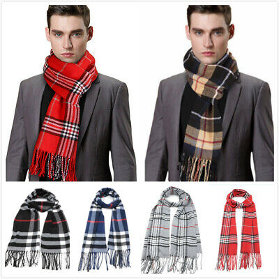 Mens Classic Tartan Scarf Scottish Checks Wool Blend Plaid Wrap Unisex Gift