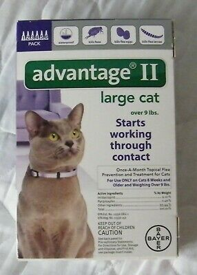 Bayer Advantage II Flea Prevention for Large Cats Over 9 lbs, 6 Pack NEW