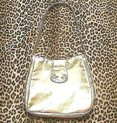 EYE-CATCHER 1960s SHOULDER BAG~DISCO SHINY GOLD FAUX LEATHER~MADE IN ITALY~NEW