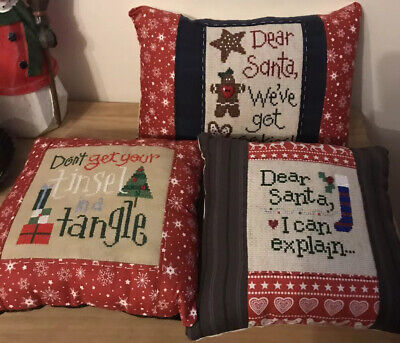 Lizzie Kate Completed Christmas Cross Stitch Cushions X 3