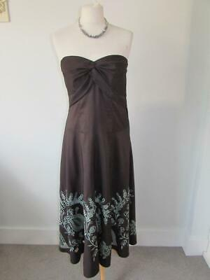 MONSOON Ladies Brown Duck Egg Strapless Occasion Evening Midi Dress Size 12 VGC