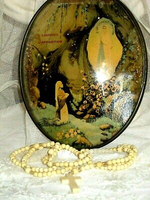 19th Century French Carved Bead Rosary Plus Convex Glass Picture