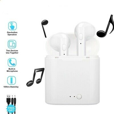 Wireless Bluetooth Earbuds Headphones Stereo Compatible with ISO/Android White