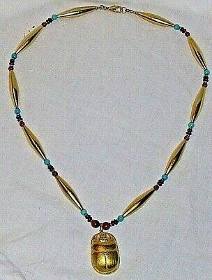 "Egyptian Gold Finish 19"" Necklace Scarab Beetle Pendant Lazuli Turquoise Beeds"