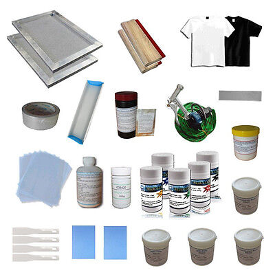 Screen Printing Press Material Kit Hobby Tool Chemical Ink Screen Frame Squeegee