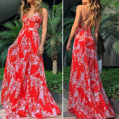 Ladies Strappy Maxi Floral Dress Summer Backless Beach Boho Party Long Sundress