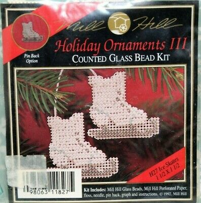 Mill Hill ICE SKATES Christmas Holiday Ornaments III Counted Glass Bead Kit H27