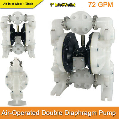 Double Diaphragm Pump Air-Operated Polypropylene 1inch Inlet /& Outlet 72GPM