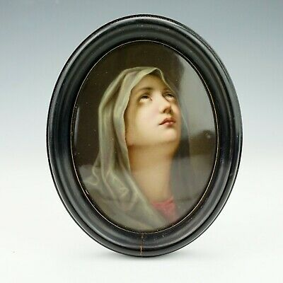 Antique Berlin Continental Porcelain Hand Painted Madonna Wall Plaque - Lovely!