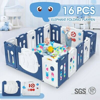 16 Panel Elephant Design Kids Baby Playpen Safety Gate Toys w/ Drawing Board
