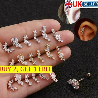 Curved Cartilage Ear Stud Helix Tragus Rook Conch Screw Back Piercing Earring