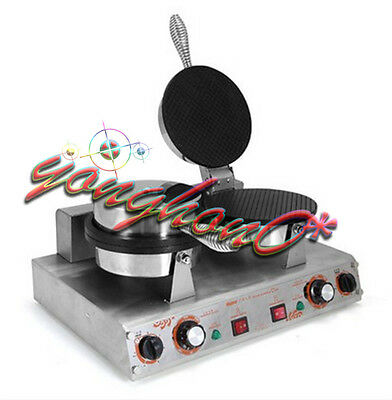 NEW Commercial Ice Cream Waffle Cone Maker Two Heads Nonstick Baker 220V