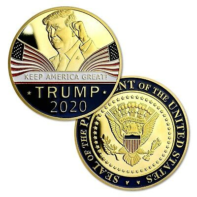 Donald Trump 2020 Keep America Great Commemorative Challenge Coin Gold Plated 2h