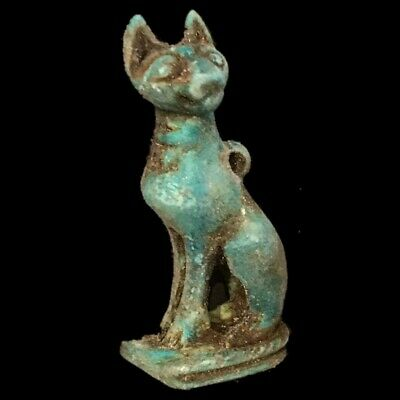 Beautiful Ancient Egyptian Bastet Amulet 300 Bc (1)