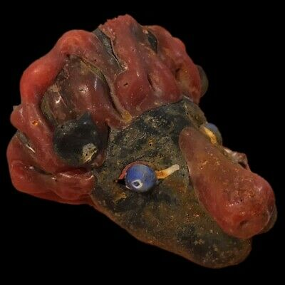 Very Rare Large Phoenician Glass Animal Head Bust Pendant 300Bc Super Quality 1