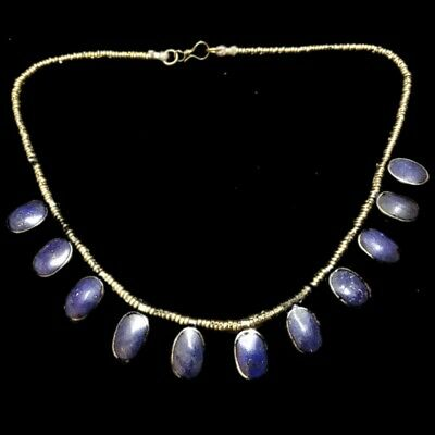 Rare Ancient Lapiz Stone Pendant Necklace  300 B.c 11 Stones! (1)