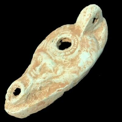 Ancient Egyptian Face Stone Oil Lamp , Late Period 664 - 332 Bc (1)