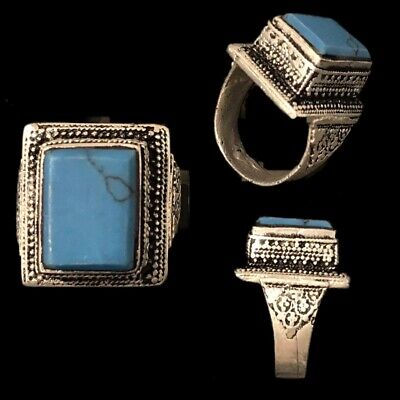 Stunning Top Quality Post Medieval Silver Ring With A Blue Stone (2)