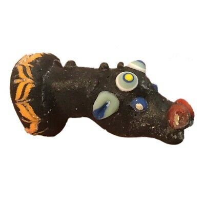 Very Rare Large Phoenician Glass Animal Head Bust Pendant 300Bc Super Quality 2