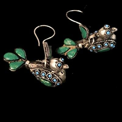 Very Rare Gandhara Ancient Silver Bird Earrings With Blue/Green Stone