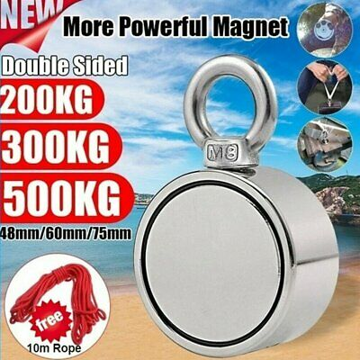 500Kg Neodymium Salvage Strong Recovery Fishing Magnet Hunting Treasure w/ Rope