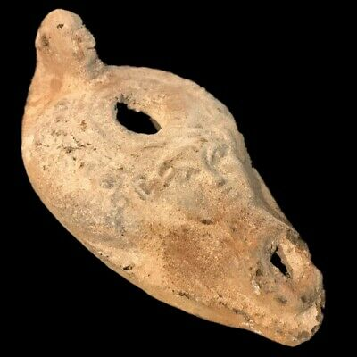 Ancient Egyptian Face Stone Oil Lamp , Late Period 664 - 332 Bc (2)