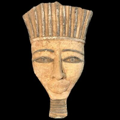 EGYPTIAN PHAROAH BUST STATUE, LATE PERIOD 664 - 332 BC (2) Large Over 15 Cm