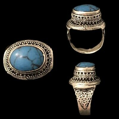 Stunning Top Quality Post Medieval Silver Ring With A Blue Stone (4)