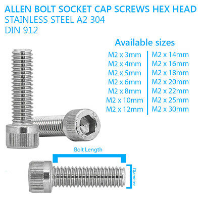 M2 - 2mm ALLEN CAP SCREWS SOCKET SCREW BOLTS STAINLESS STEEL A2 70 DIN 912
