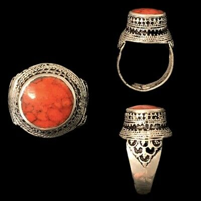 Stunning Top Quality Post Medieval Silver Ring With A Red Stone (6)