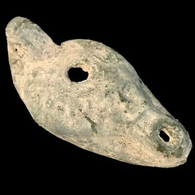 Ancient Egyptian Face Stone Oil Lamp , Late Period 664 - 332 Bc (3)