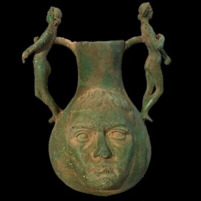 Large Double Handled Roman Ancient Bronze Drinking Jug/Vessel - 200-400 Ad