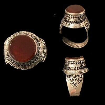 Stunning Top Quality Post Medieval Silver Ring With A Carnelian Stone (8)