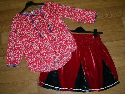 BRORA Girls Designer Outfit Velvet Skirt Red Floral Top Blouse Age 11-12