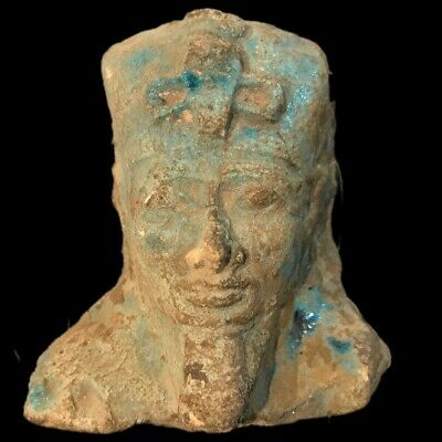 EGYPTIAN PHAROAH BUST STATUE, LATE PERIOD 664 - 332 BC (4) Large Over 10.5 Cm
